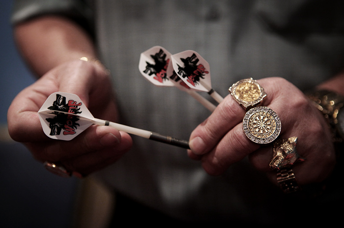 "The hands of darts champion Martin ""wolfie"" Adams, Frimley Green, UK."